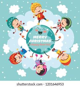 Vector Illustration Of Christmas Children