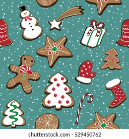Vector illustration of christmas cookies set on blue background with snow. Seamless pattern