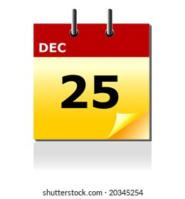 Vector illustration of Christmas day calendar with turning page.