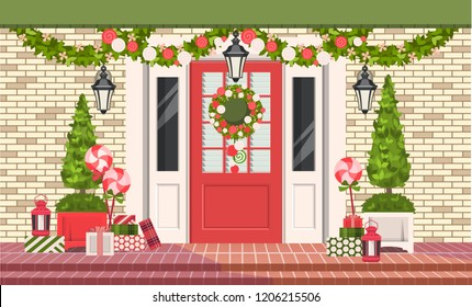vector illustration. Christmas decorations on the front door of a residential building, a wreath of plants and garlands, gift wrapping,