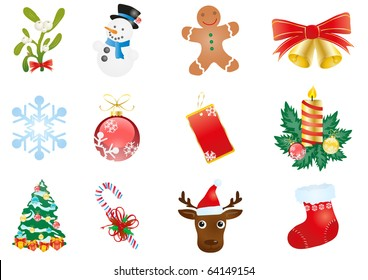 christmas clipart images stock photos vectors shutterstock https www shutterstock com image vector vector illustration christmas elements isolated on 64149154