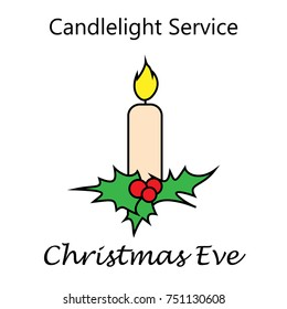 Vector illustration. Christmas Eve. Candlelight Service. Suitable for greeting card, poster and banner.