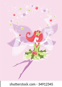 a vector illustration of a christmas fairy or sugar plum fairy sprinkling happiness, holiday cheer, and sweets