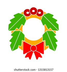 Vector illustration of christmas floral wreath. graphic style, beautiful christmas floral and wedding design element