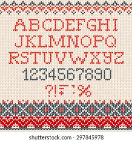 Vector illustration Christmas Font: Scandinavian style seamless knitted ornament pattern