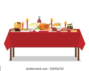 Vector illustration of Christmas food on the table in flat style. Isolated on white background. Cuisine or dishes. Perfect for New Year and Christmas greeting card, invitation, banner poster