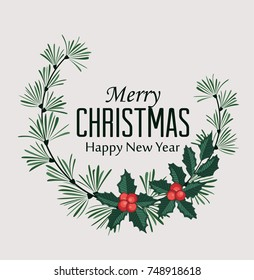 Vector illustration of Christmas frame with pine branches and mistletoe. Happy Christmas greeting card