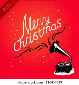 Vector illustration. Christmas Greeting Card with gramaphone. Lettering illustration.