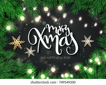 Vector illustration of christmas greeting card with hand lettering label - merry xmas - with stars, fir-tree branches and snowflakes.
