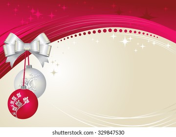 Vector illustration of Christmas greetings template with crystal balls.
