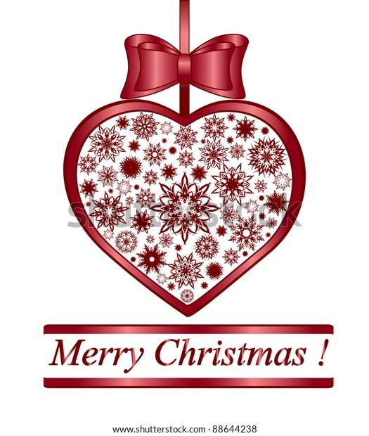 Christmas Heart Vector.Vector Illustration Christmas Heart Made Snowflakes Stock