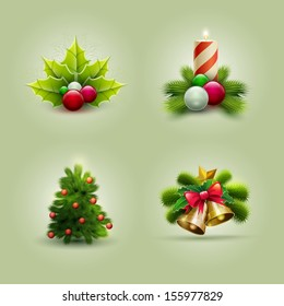 Vector illustration of Christmas icon set. Vector ornament objects.
