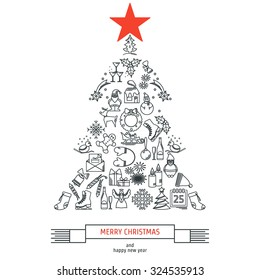 Vector Illustration of Christmas icons outline for Design, Website, Background, Banner. Thin New year Element Template