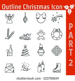 Vector Illustration of Christmas icons set outline for Design, Website, Background, Banner. Thin New year Element Template for your holiday infographic