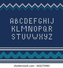 Vector Illustration of Christmas Knitted font Ugly sweater style for Design, Website, Background, Banner. Northern typography Element Template. Typography knit letters