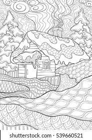 A vector  illustration of Christmas landscape  with  a house and snow in doodle style for anti stress adult coloring book.