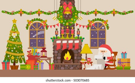 Vector illustration of Christmas living room with rocking chair, fireplace, clock and fir-tree.