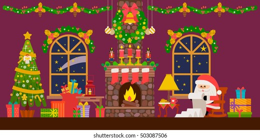 Vector illustration of Christmas living room with Santa claus , fireplace, clock and gifts