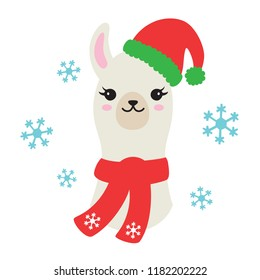 Vector illustration of Christmas llama or alpaca wearing Santa Claus hat and winter scarf with snowflakes.