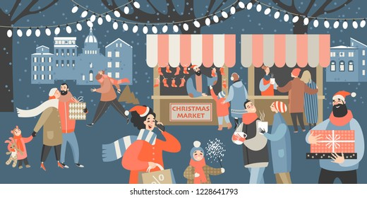Vector illustration of a Christmas market with people shopping, drinking mulled wine and having a rest with their family. Cartoon style banner.