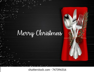 Vector illustration of Christmas meal table setting background