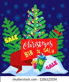 Vector illustration for Christmas and New Year sales. Christmas trees and red ribbon with the inscription and a number of gifts standing in the snow. On a blue background with snowflakes.