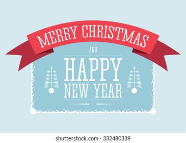 Vector illustration of the Christmas and New Year decorative sign with red ribbon. White frame around text.