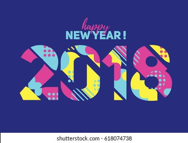 vector illustration. With christmas and new year 2018. dynamic colorful background in the style of the 80's memphis. Trend in design