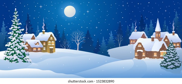 Vector illustration of a Christmas night village, snowy landscape panorama