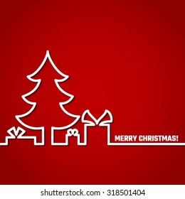 Vector Illustration of Christmas Outline BAckground for Design, Website, Banner. New year and xmas Element Template. Christmas tree and box of gifts and present under it.