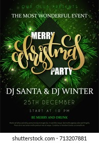 Vector illustration of christmas party poster with hand lettering label - christmas - with fir-tree branches.