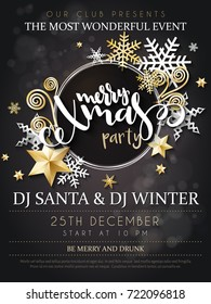 Vector illustration of christmas party poster with hand lettering label - christmas -with stars, sparkles, snowflakes and swirls.