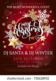 Vector illustration of christmas party poster with hand lettering label - christmas - with stars, sparkles, snowflakes and swirls