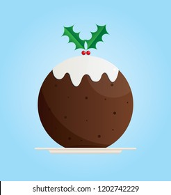 Vector illustration of a Christmas pudding on a blue background
