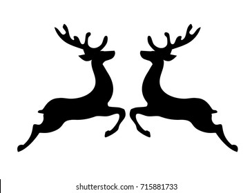 vector illustration of Christmas reindeer silhouettes.