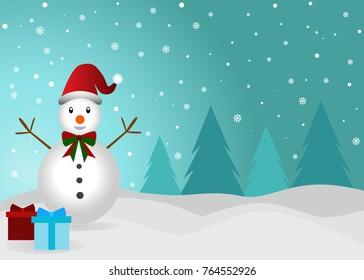 Vector illustration of Christmas snowman cartoon design in winter
