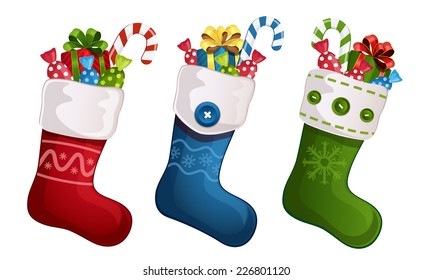 Vector illustration of Christmas stockings with gifts isolated