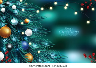 Vector illustration of christmas tree branches on a dark night bokeh background with blurred lights