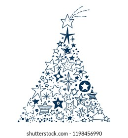 vector illustration of a christmas tree created by all kinds of hand drawn stars - Kinds Of Christmas Trees