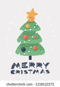 Vector illustration of Christmas tree on a white background. Merry Christmas