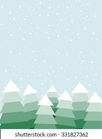 Vector illustration of the Christmas trees on the winter day with big copy space on the top of the image. Snow falling in the background.