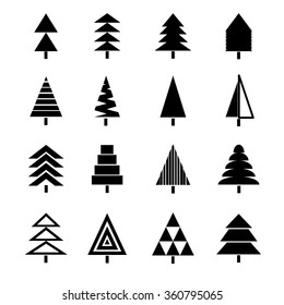 Vector illustration of christmas trees. Spruce tree icons set. Isolated on white background.