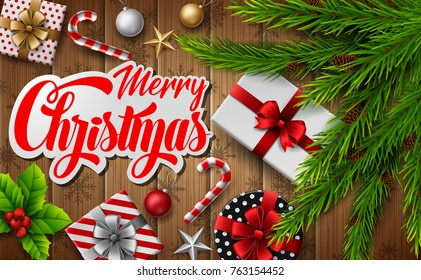 Vector illustration of Christmas wooden background with fir branches and christmas elements