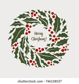 Vector illustration Christmas wreath of holly with red berries. New Year holiday celebration in December. Icon isolated on light background.