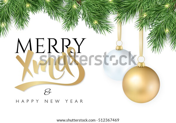 vector illustration Christmas-tree branch with hanging christmas ornaments and garland and the greetings text - Merry Xmas - and happy new year.