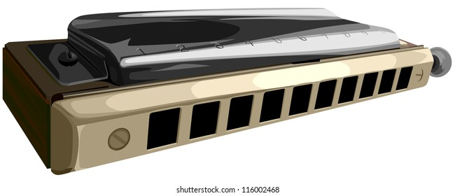Vector illustration of chromatic harmonica with ten horns holes, isolated on white.