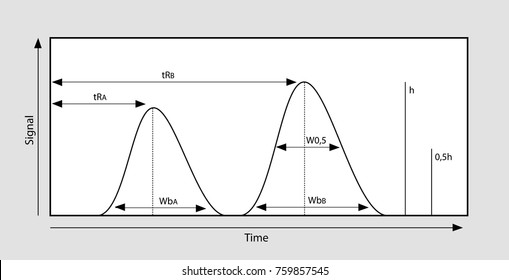 Vector illustration of a chromatography graph with measurements and symbols.