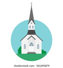 Vector illustration of a church on a flat style.
