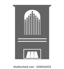Vector illustration of church organ isolated on a white background. Black and white. Church organ, musical instrument in flat style.