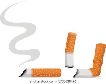Vector illustration of cigarette butts